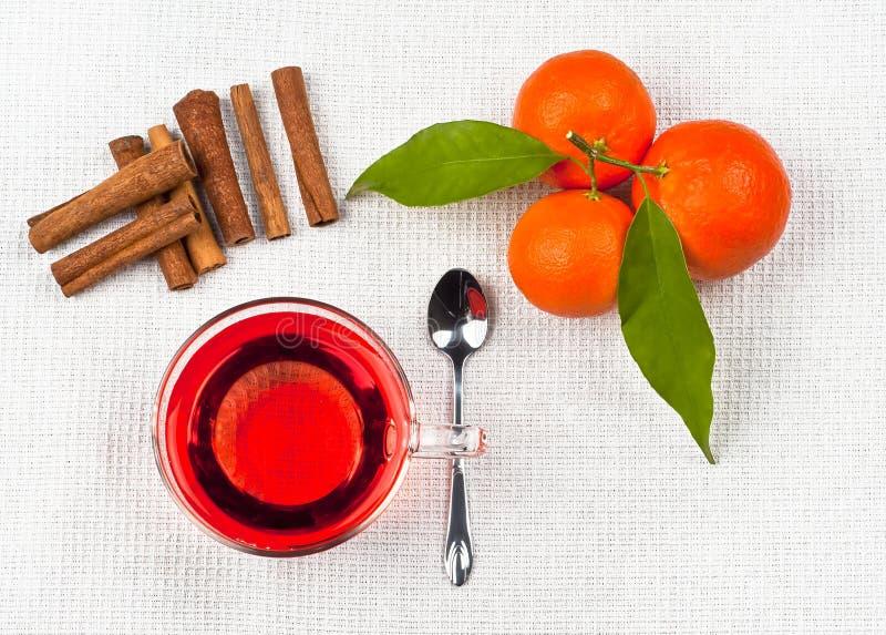 茶和桔子 免版税库存图片