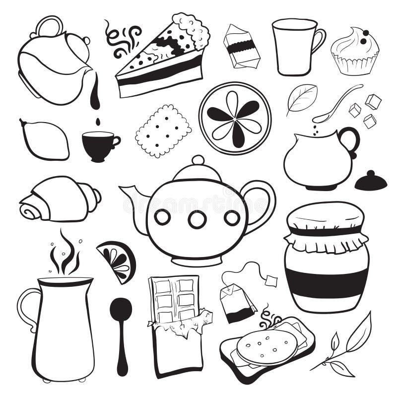 茶和甜点传染媒介黑白对象 向量例证. 插画 包括有图片