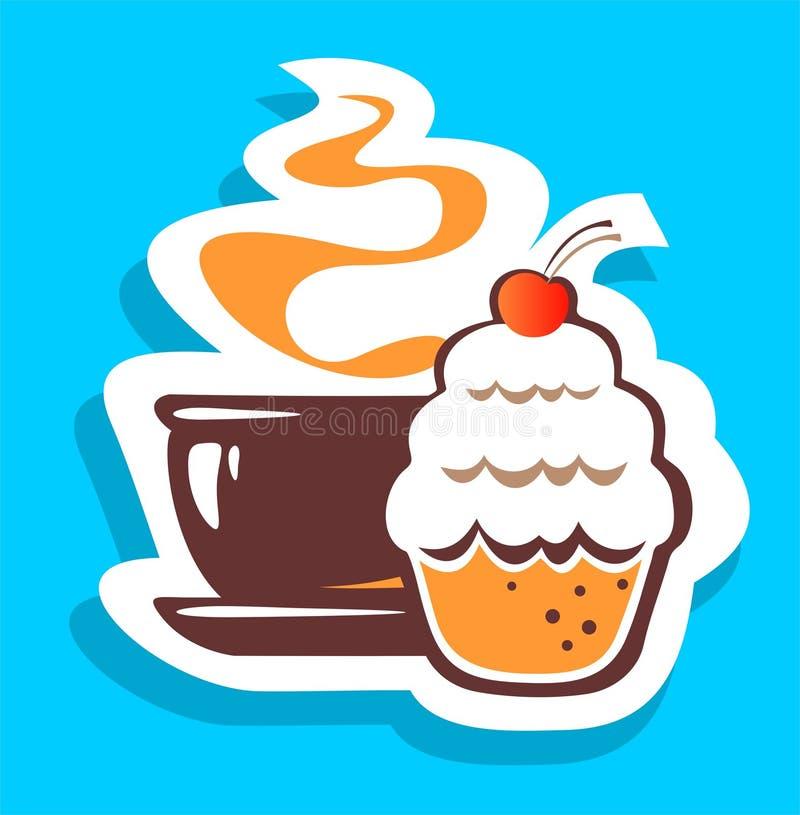 茶和蛋糕 库存例证