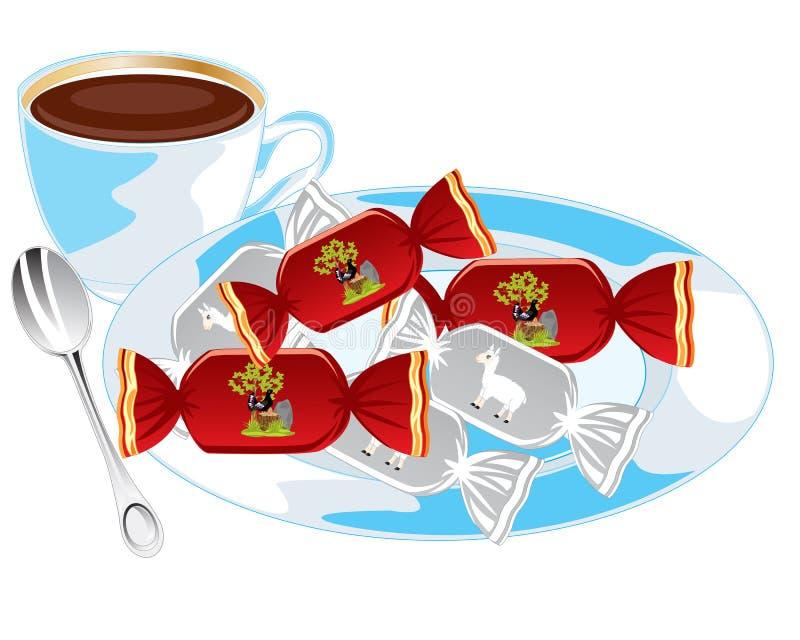 茶和蜜钱 皇族释放例证