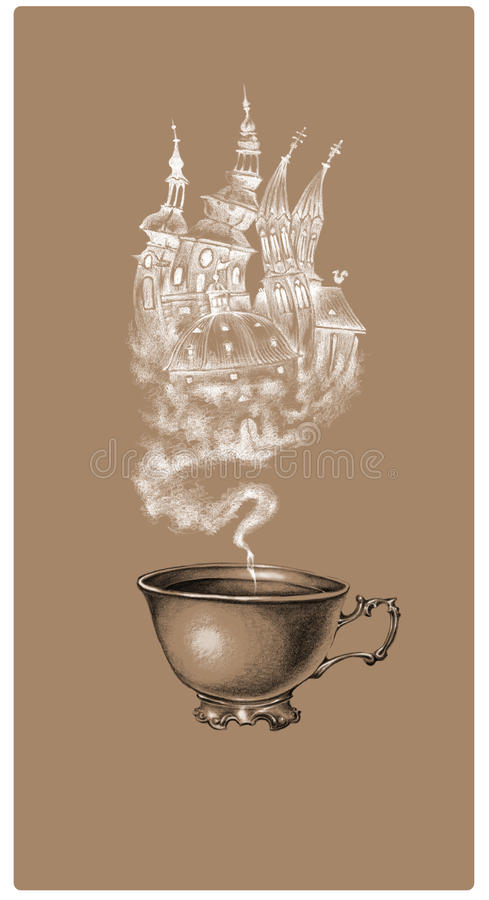 茶咖啡标签 库存照片