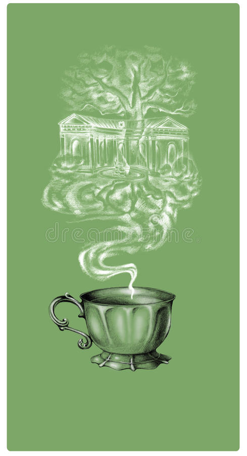 茶咖啡标签 免版税库存照片