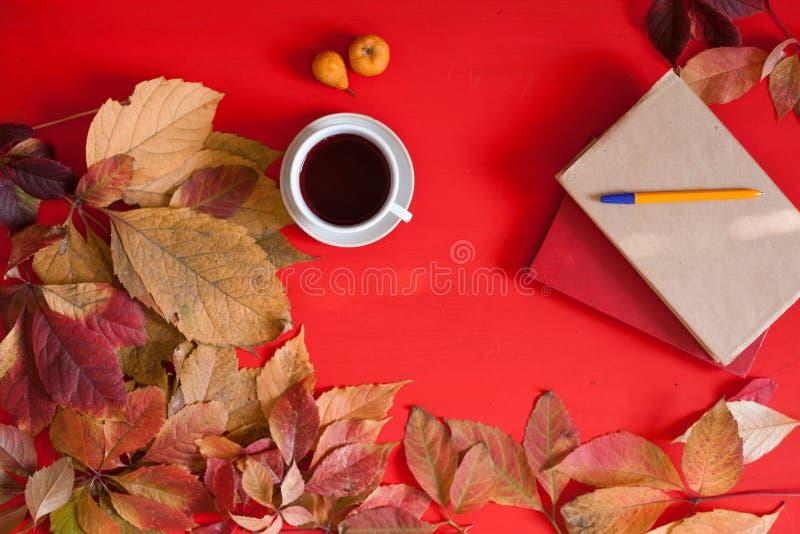茶咖啡红色和黄色秋叶书和早餐 免版税库存照片