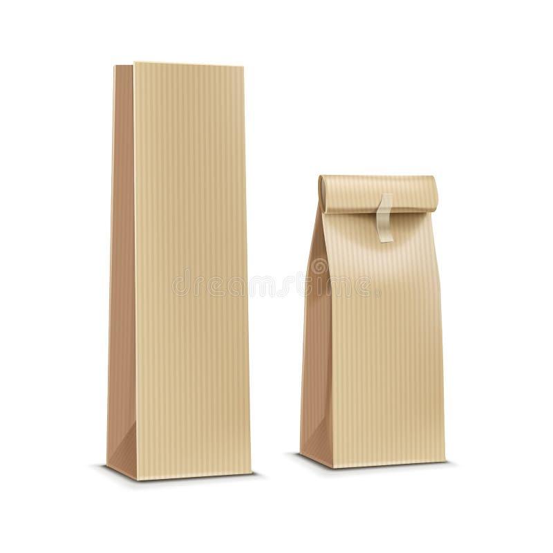 茶咖啡纸包装的包裹组装袋子传染媒介例证 向量例证