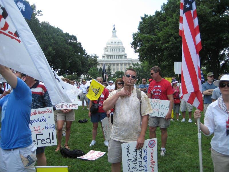 茶在国会大厦前面的Partiers立场抗议的 库存图片