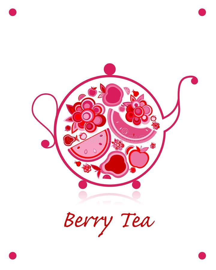 茶壶剪影用果子和莓果茶您的设计的 皇族释放例证