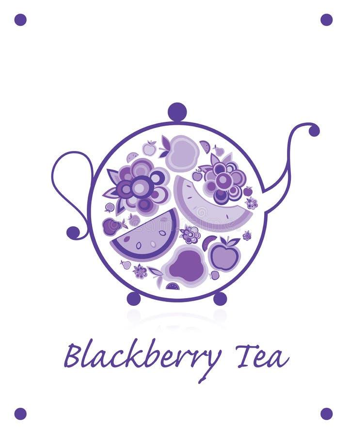茶壶剪影用果子和莓果茶您的设计的 向量例证