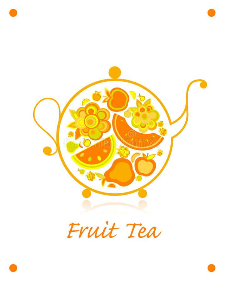 茶壶剪影用果子和莓果茶您的设计的 库存例证