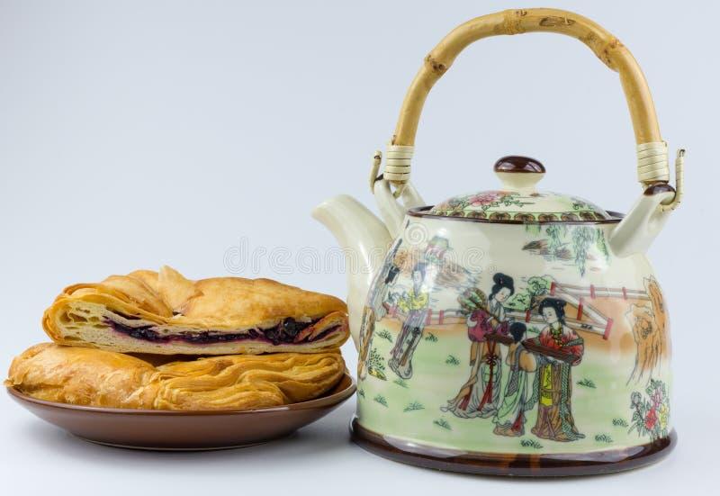 茶壶和松饼在板材 免版税库存照片