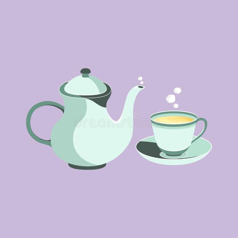 茶壶和茶杯葡萄酒集合 皇族释放例证