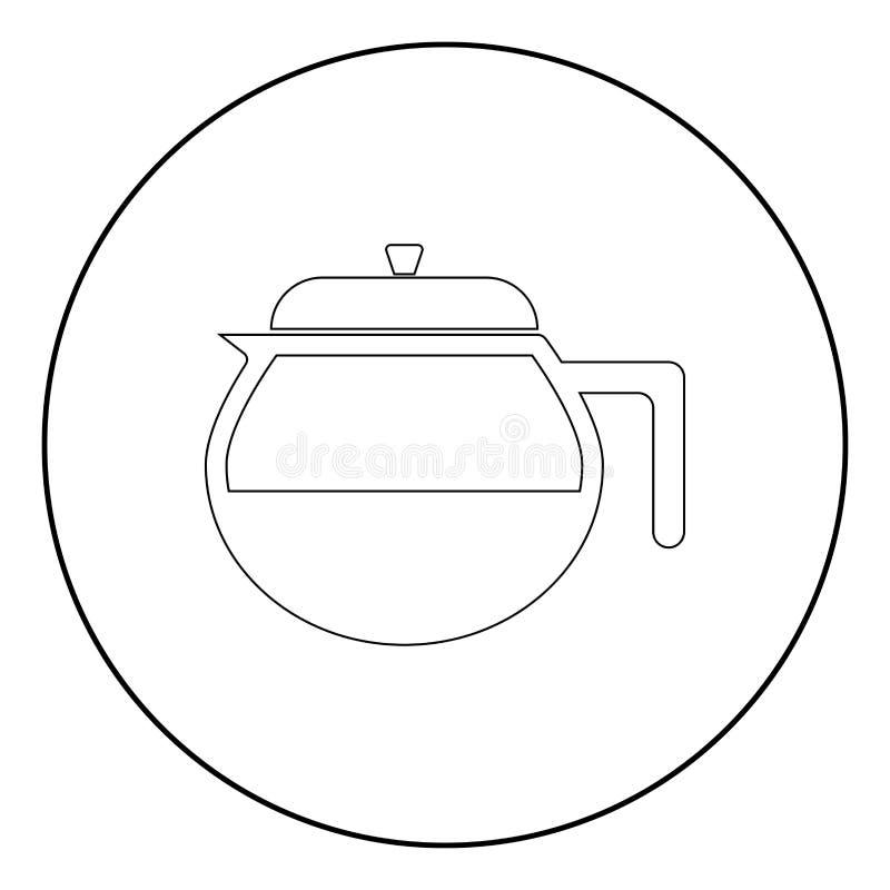 茶壶在圈子的黑颜色象或圆 向量例证