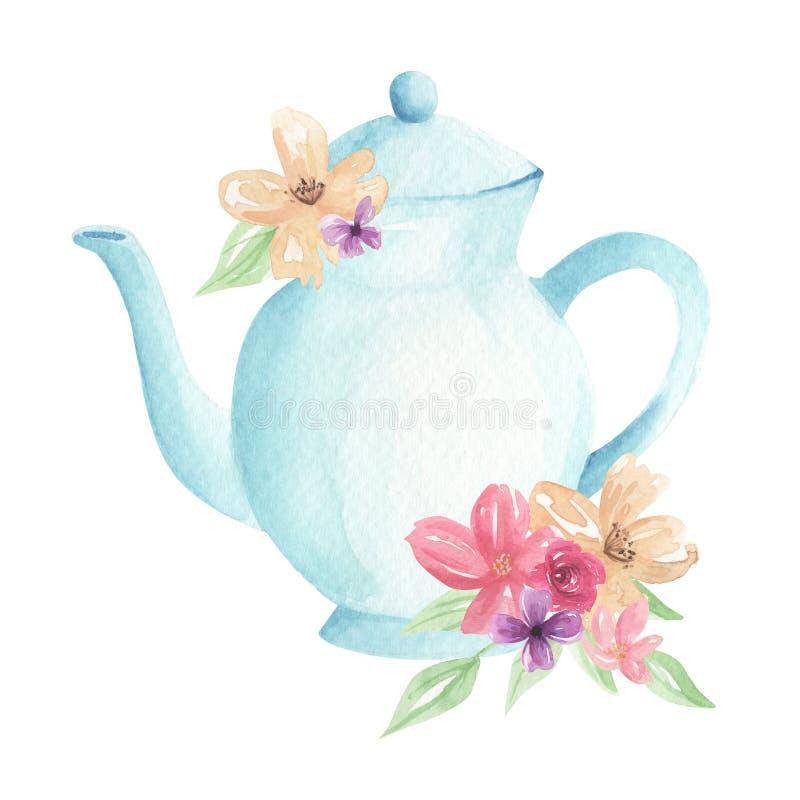 茶壶开花水彩淡色蓝色叶子下午茶植物布置 库存例证