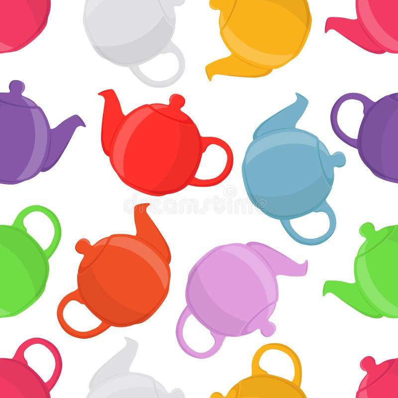 茶壶的传染媒介例证,无缝的样式 瓦器,黏土茶壶 库存例证