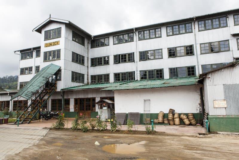 茶工厂的门面在努沃勒埃利耶,小山国家在中央斯里兰卡 免版税库存照片