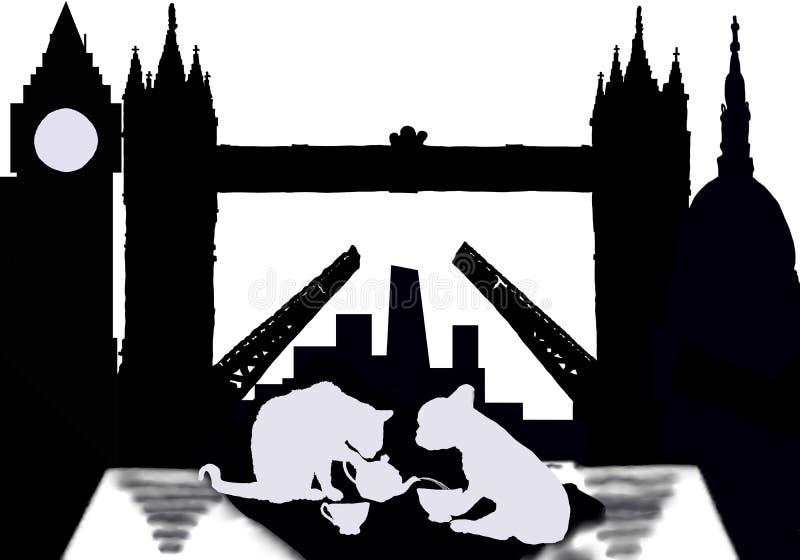 茶恋人在有猫和狗的伦敦 免版税库存照片