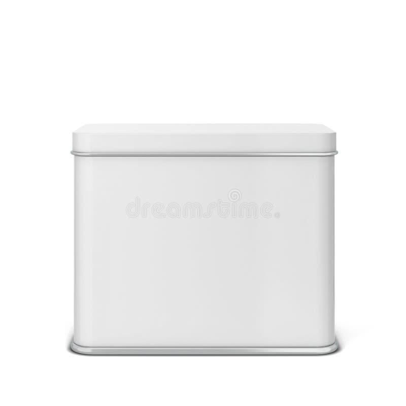 茶或咖啡的长方形锡罐 库存例证