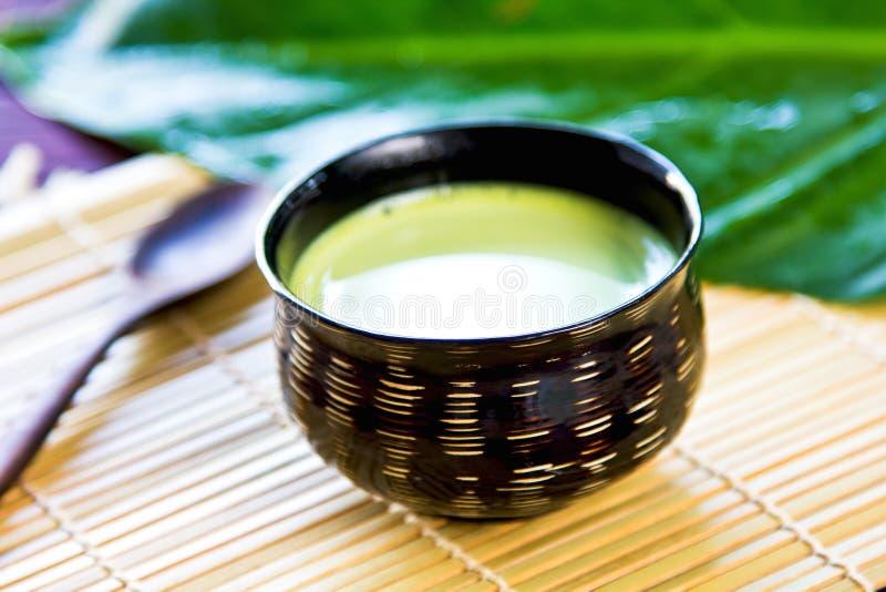绿茶拿铁 免版税图库摄影