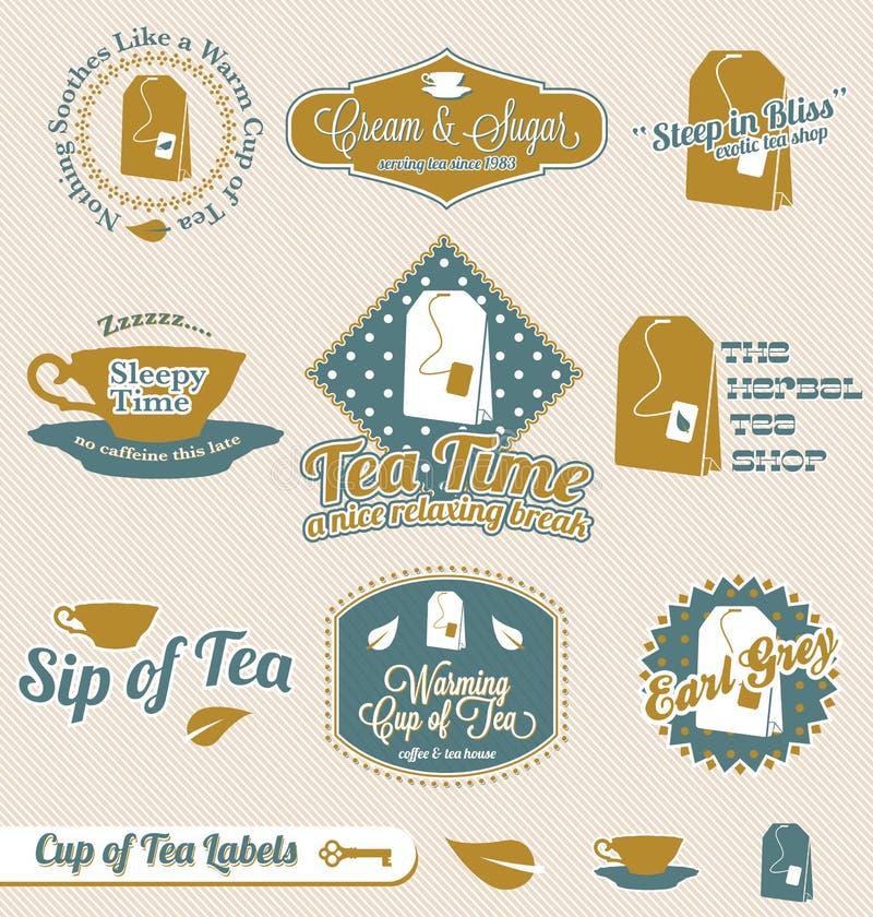 茶时间标签和贴纸 向量例证