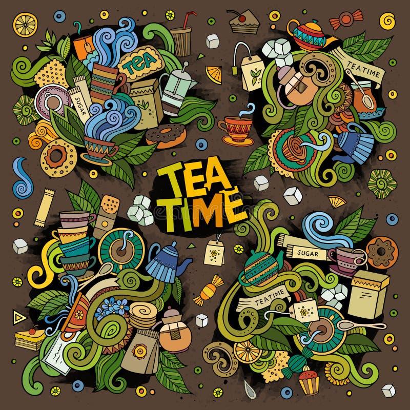 茶时间传染媒介乱画设计 库存例证