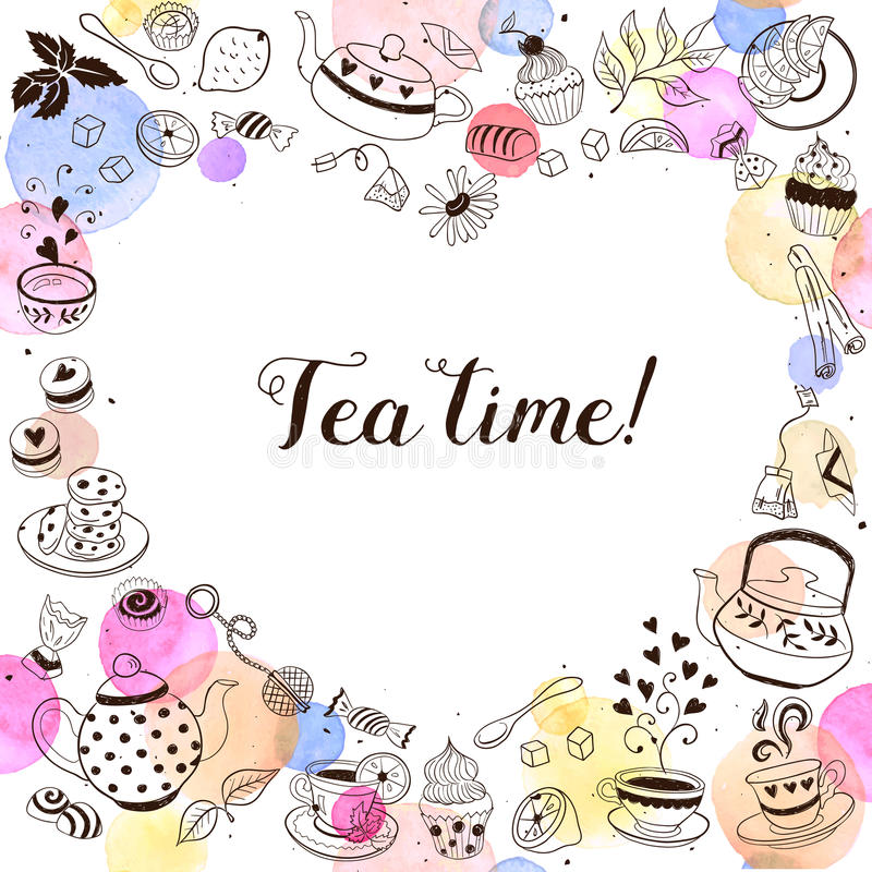 茶时间贺卡 皇族释放例证