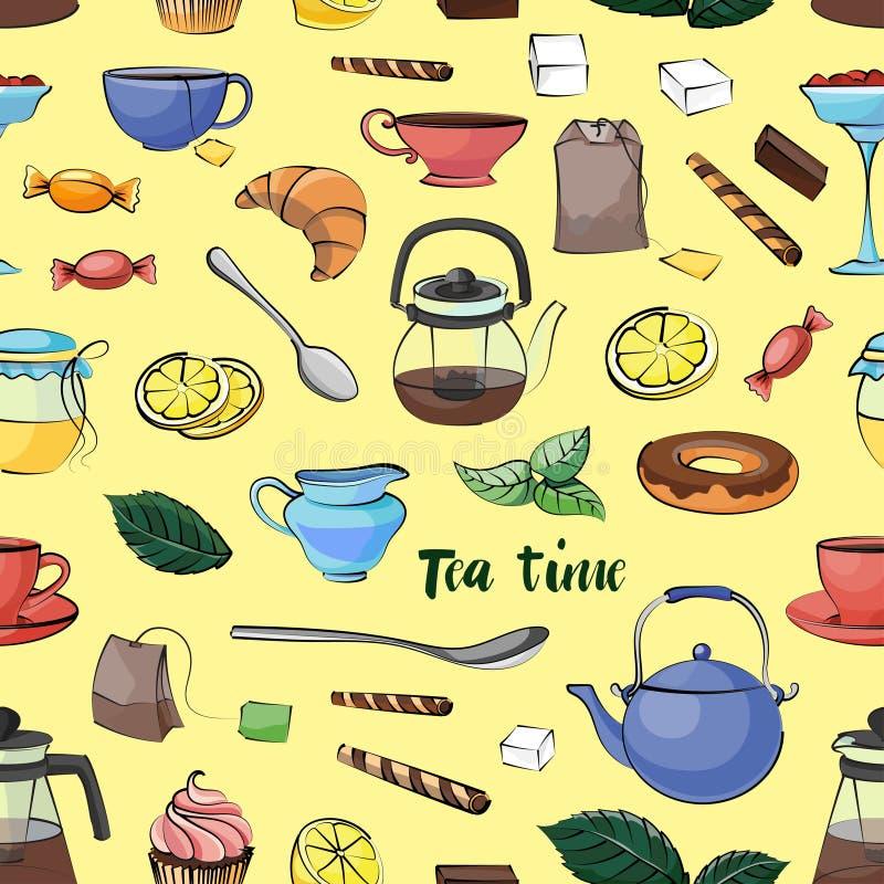 茶时间样式 库存例证