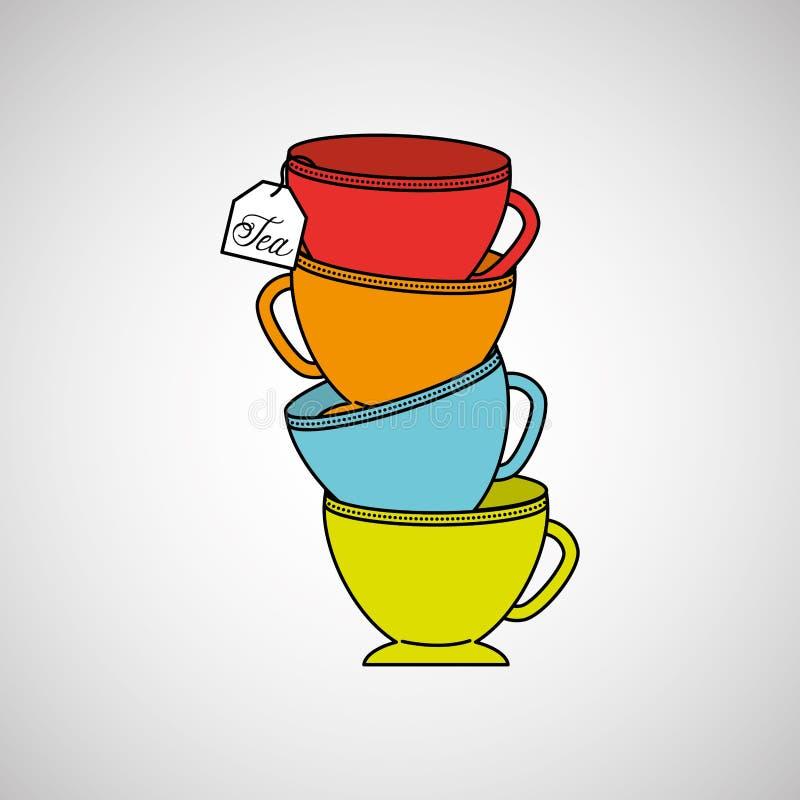 茶时间设计 皇族释放例证