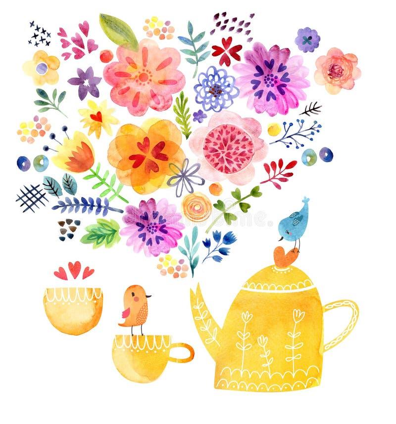 茶时间逗人喜爱的水彩卡片 皇族释放例证