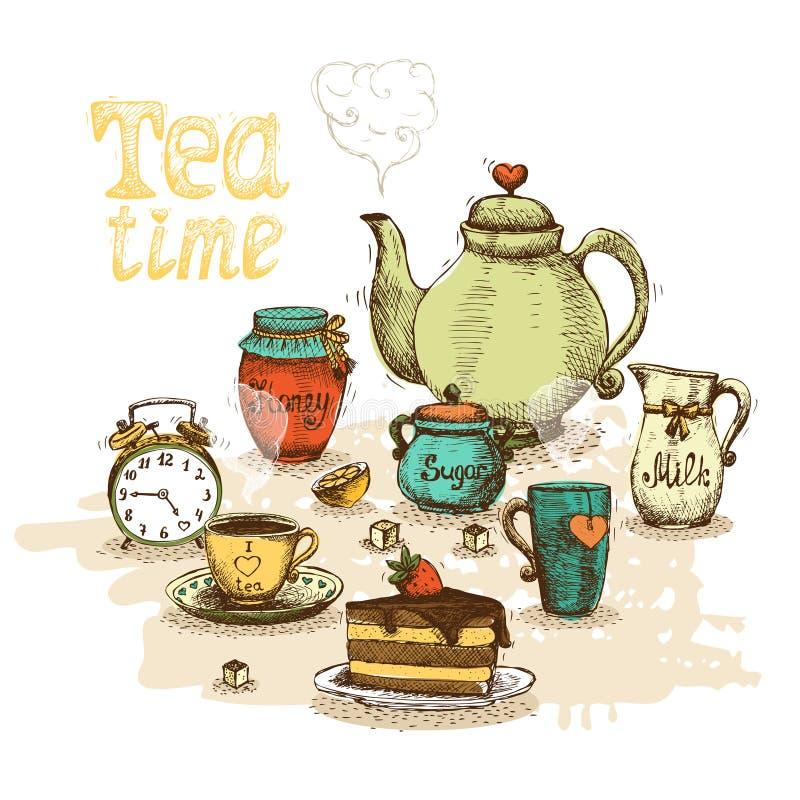 茶时间静物画 向量例证