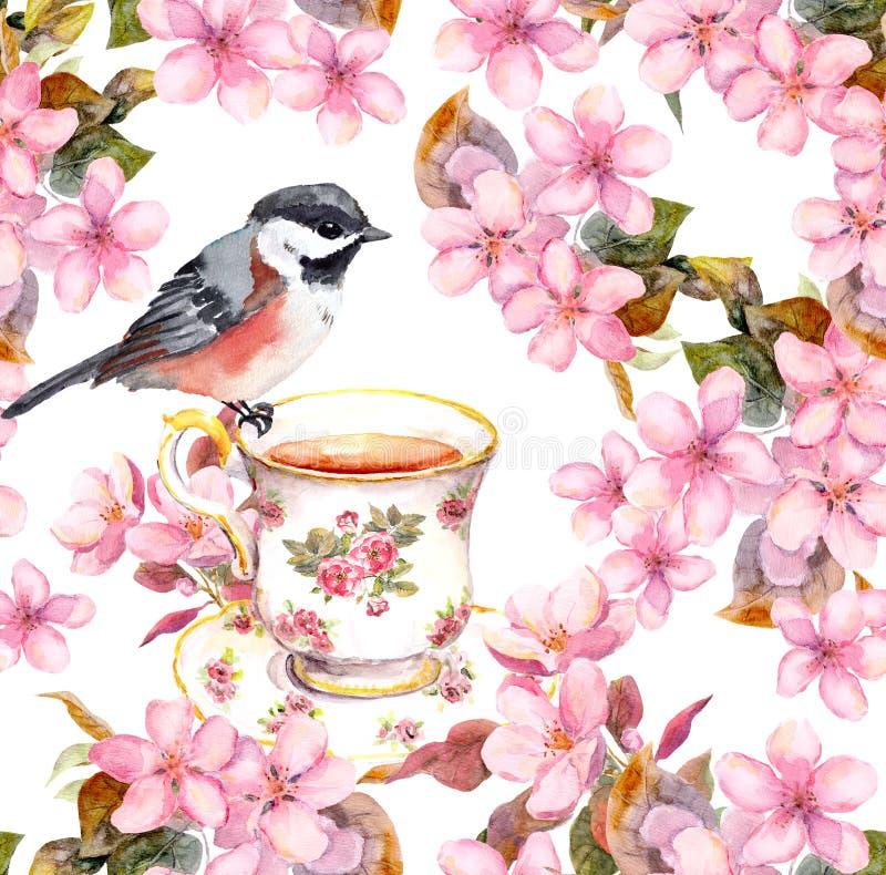 茶杯、鸟和开花的花 无缝花卉的模式 在白色背景的水彩艺术 皇族释放例证