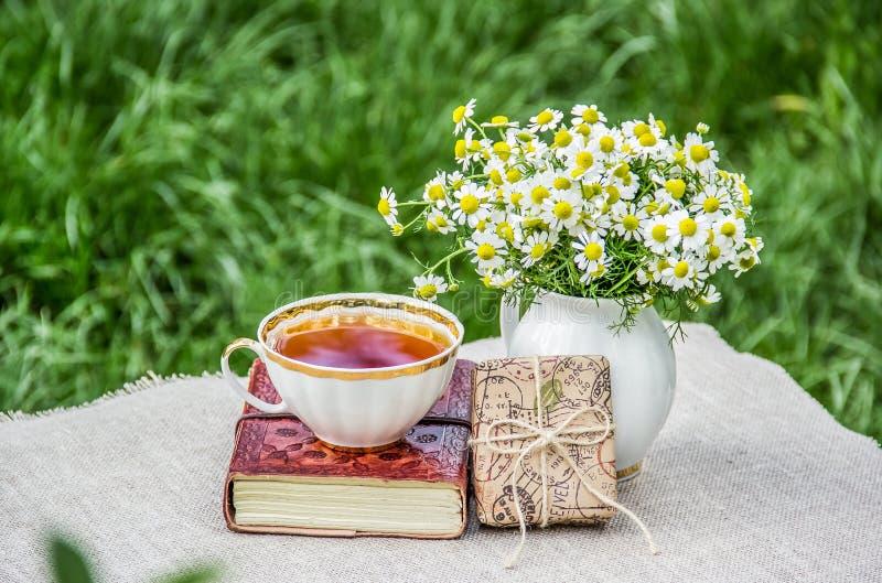 茶杯和书 在草的夏天野餐 春黄菊和礼物盒花束  免版税库存照片