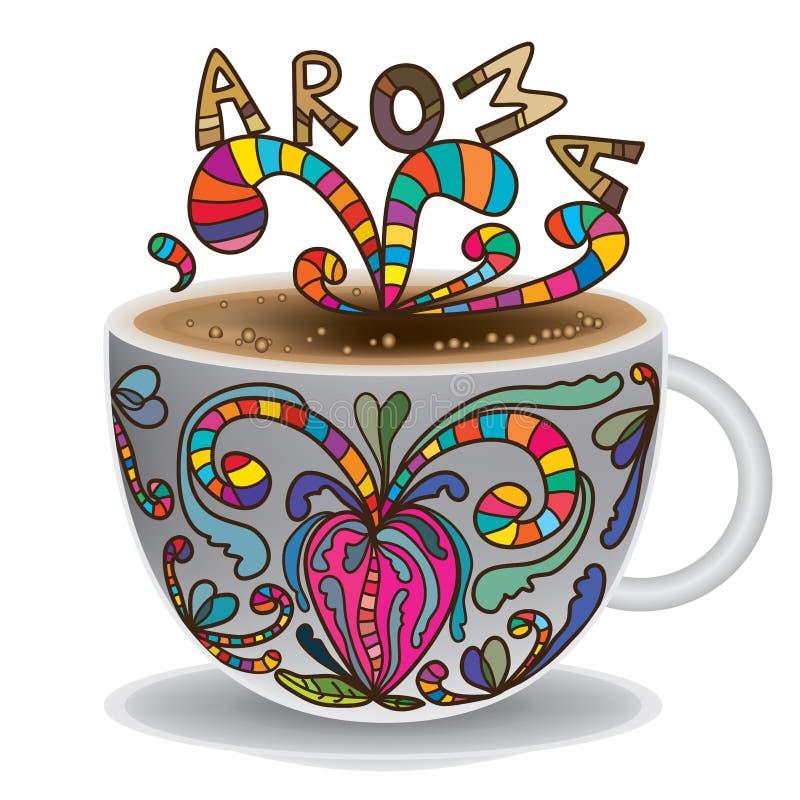 茶杯图画芳香 皇族释放例证