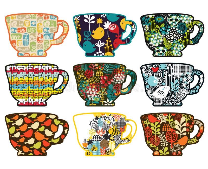 茶杯的汇集用不同的样式的。 库存例证