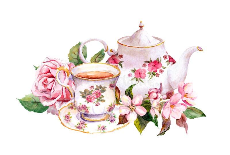 茶杯,有花的茶罐 背景看板卡问候页模板通用葡萄酒万维网 水彩 皇族释放例证