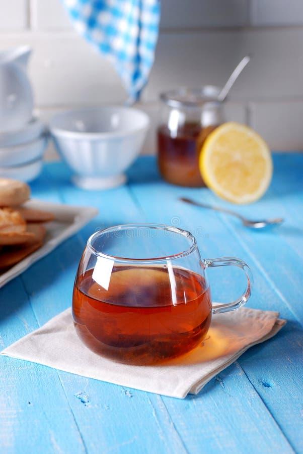 茶用蜂蜜和柠檬 库存照片