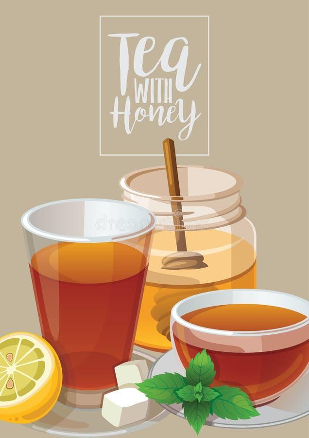 茶用蜂蜜 皇族释放例证