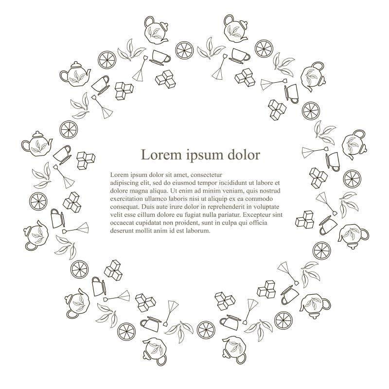 茶的, Lorem ipsum,线设计股票传染媒介例证圆的印刷术横幅tenmplate 单色象茶罐,茶包 库存例证