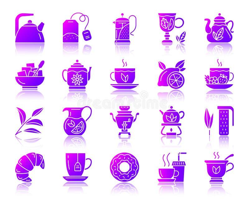 茶简单的梯度象传染媒介集合 库存例证