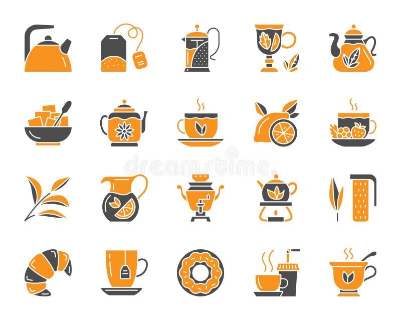 茶简单的颜色平的象传染媒介集合 皇族释放例证