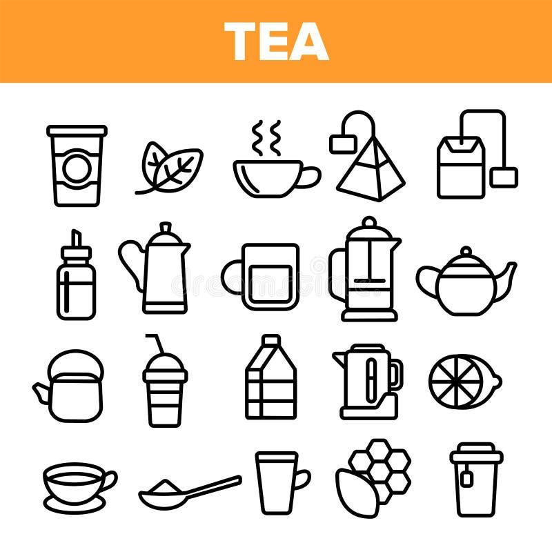 茶线象集合传染媒介 餐馆标签设计 茶饮料象 传统杯子图表 稀薄的概述网 向量例证