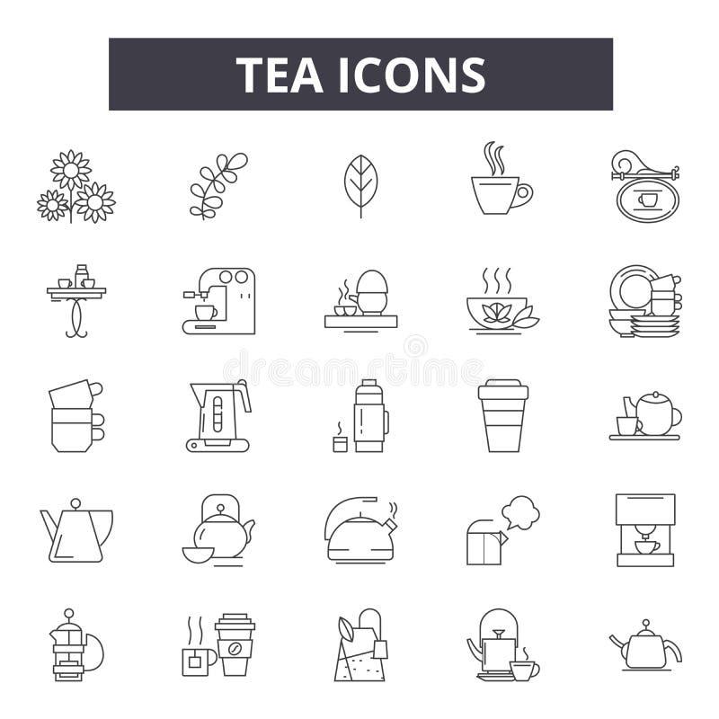 茶线象,标志,传染媒介集合,概述例证概念 库存例证