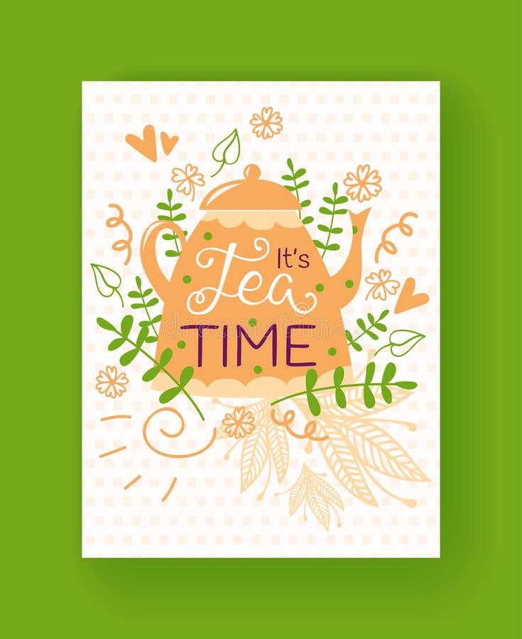 茶罐剪影,花,叶子,草本导航例证 茶时间卡 被隔绝的花卉样式手拉  向量例证