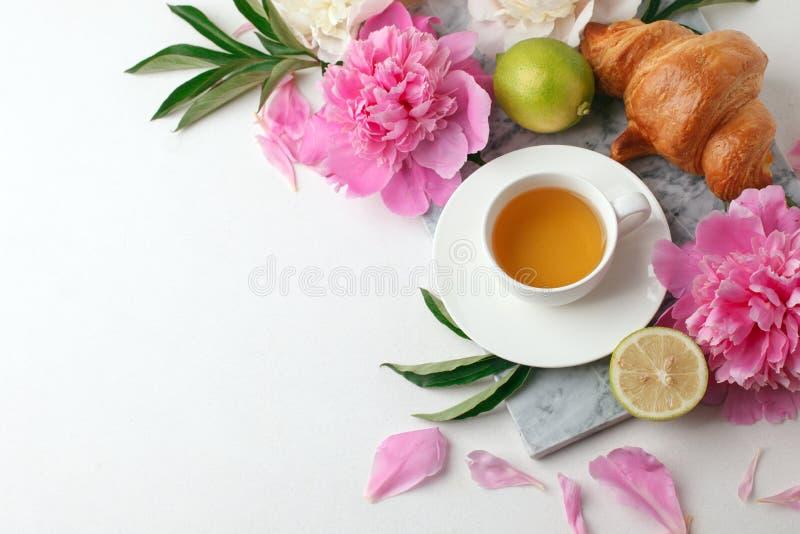 茶,与鲜花牡丹的柑橘在白色背景 假日女性早餐,庆祝早晨概念 ?? 免版税库存图片