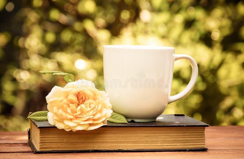 茶,旧书和在夏天庭院里上升了 咖啡和书 库存图片