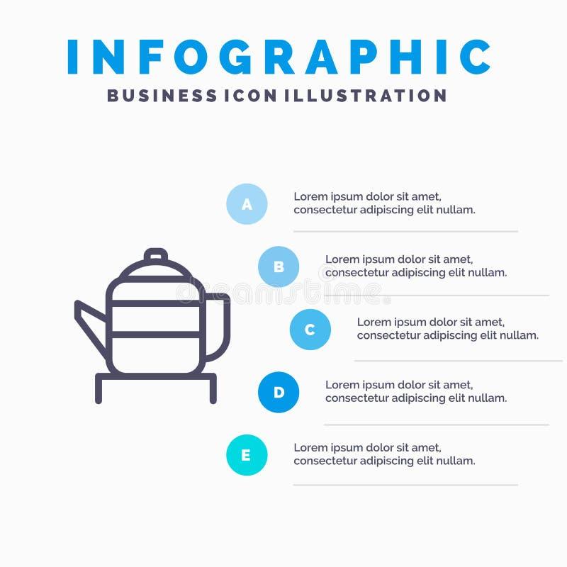 茶,茶壶,中国,中国蓝色Infographics模板5步 传染媒介线象模板 向量例证