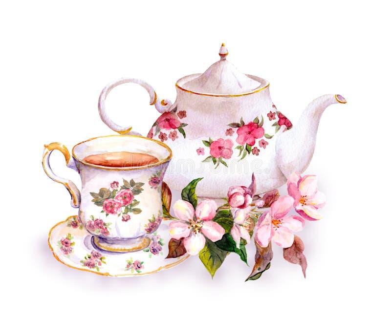 茶-杯子和茶壶有花的 葡萄酒水彩设计 皇族释放例证