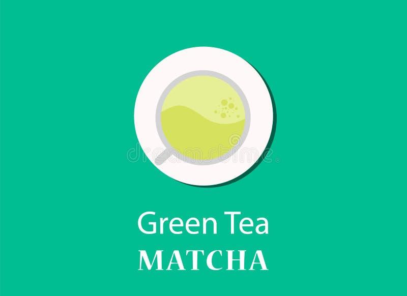 绿茶matcha与看法玻璃的概念例证从上面的 皇族释放例证