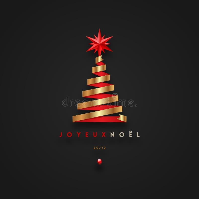 """茹瓦约noÃ""""l -圣诞节问候用法语-以圣诞树的形式金黄丝带与红色星 向量例证"""