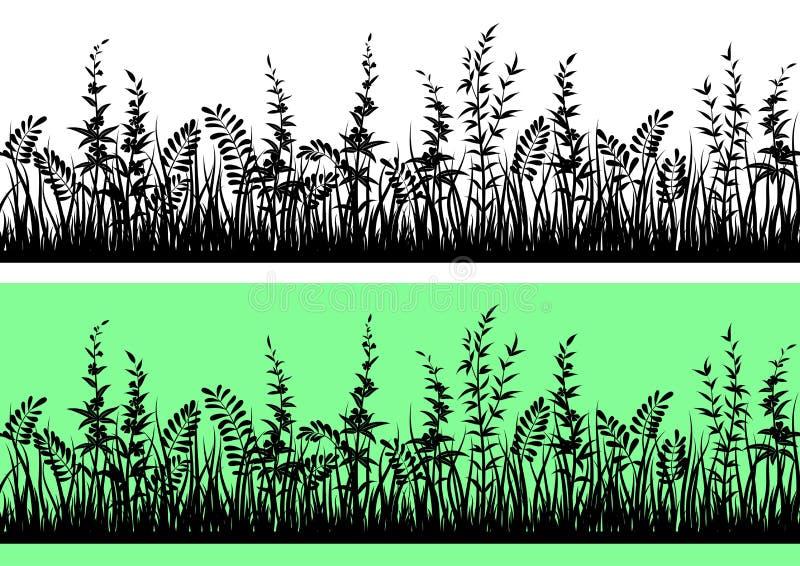 草剪影,无缝 向量例证