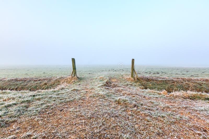 草原入口在一个冷的冬日有薄雾的早晨 库存图片
