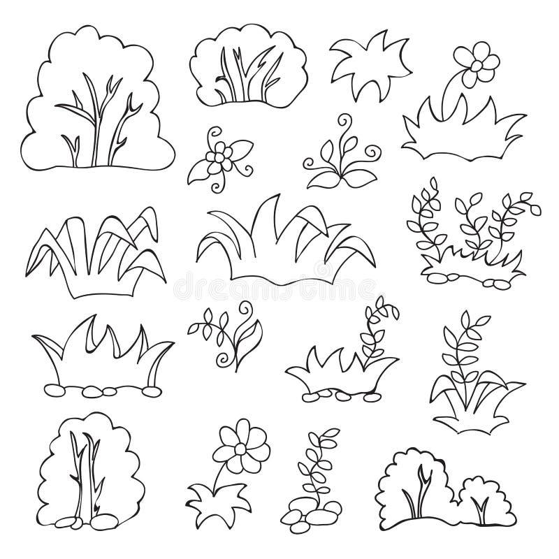 草和花动画片孩子的彩图 向量例证